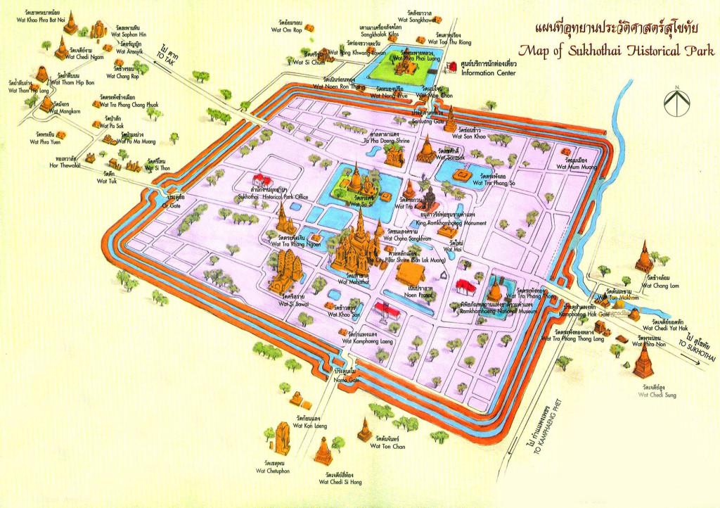 Mapa de Sukhothai Tailandia
