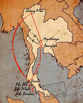 mapa de aventura y relax en tailandia durante 14 dias