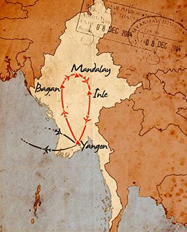 mapa de birmania en 7 dias