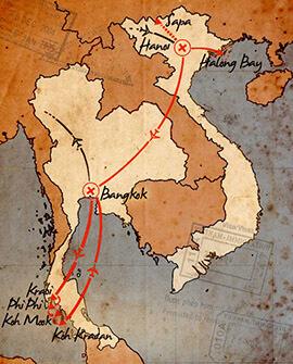 mapa de cultura y descanso en vietnam y tailandia