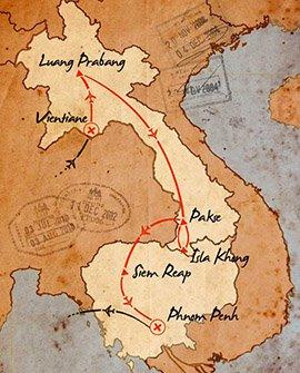 mapa de laos y camboya en un viaje de 15 dias