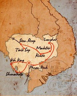 mapa de aventura y relax en camboya durante 14 dias