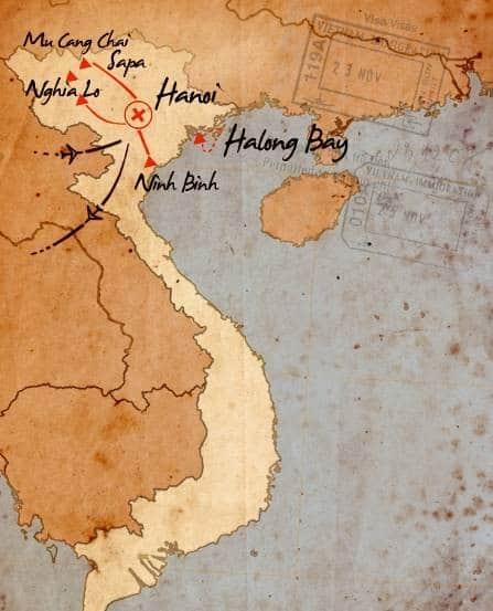 mapa de norte vietnam 13 dias