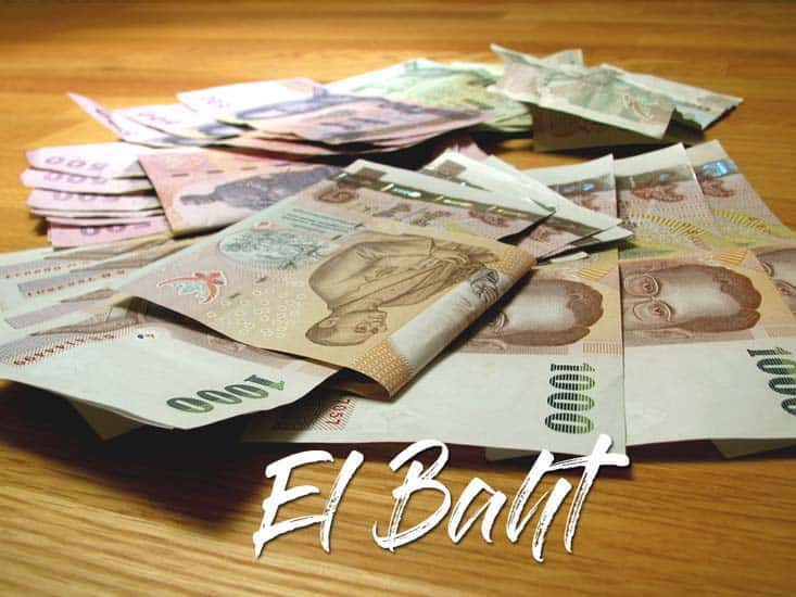 billetes y cambios de moneda en el bath tailandes